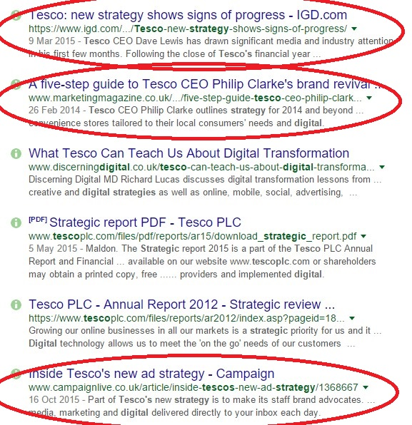 a quick search for 'Tesco digital strategy' shows three stories published with 18 months of each other, all with wildly different messages.